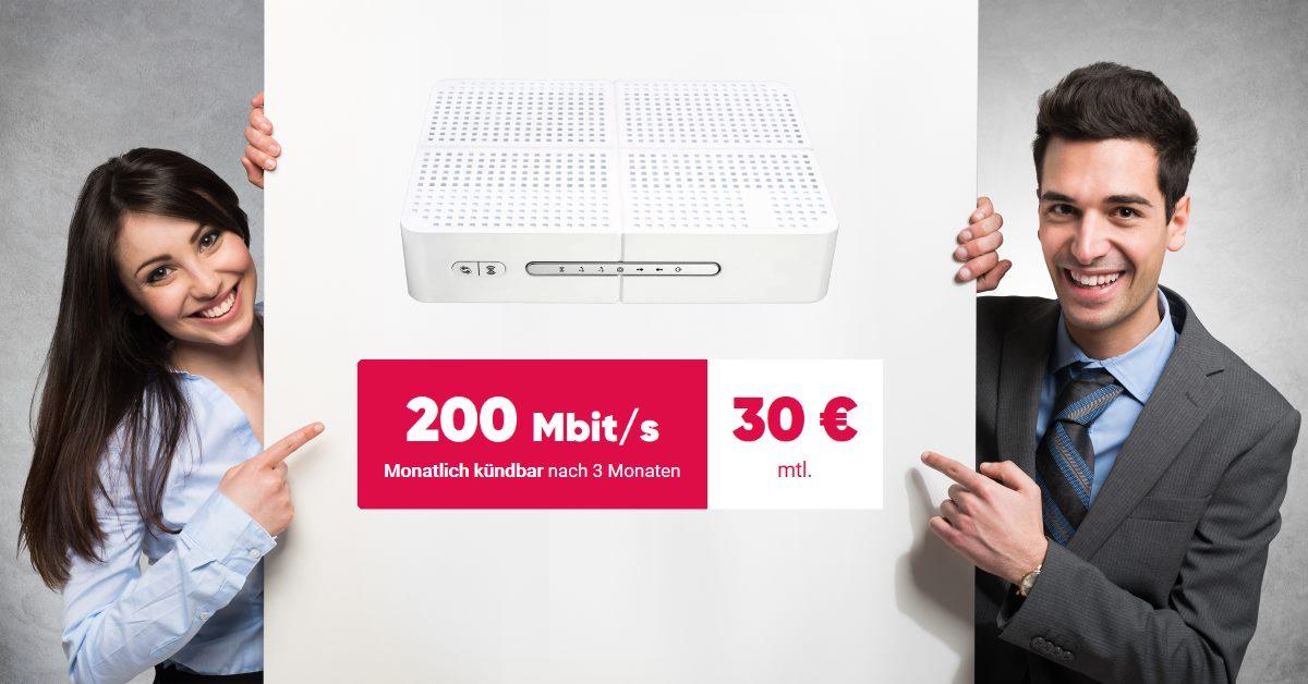 Kabel-Internet-Tarif mit bis zu 200 Mbit - Pyur-Aktion